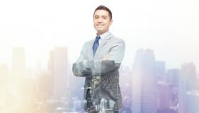 Happy smiling businessman in suit Stock Photography