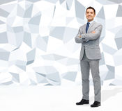 Happy smiling businessman in suit Stock Image