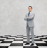 Happy smiling businessman in suit Stock Images