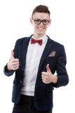 happy smiling businessman with thumbs up gesture Stock Image