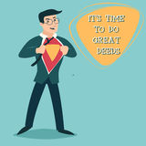 Happy Smiling Businessman Turns in Superhero Suit Royalty Free Stock Photos
