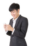 Happy smiling businessman use cellphone Stock Photos