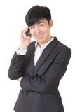 Happy smiling businessman use cellphone Royalty Free Stock Photo