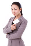 Happy, smiling businesswoman holding blank card Stock Images