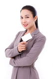 Happy, smiling businesswoman holding blank card Royalty Free Stock Photography