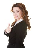 Happy smiling businesswoman with thumb up gesture Royalty Free Stock Images