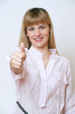 Happy smiling businesswoman with thumbs up gesture, Royalty Free Stock Photos