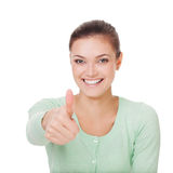 Happy smiling businesswoman with thumbs up gesture. Stock Photos