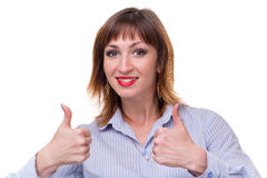 Happy smiling businesswoman with thumbs up gesture Royalty Free Stock Photo