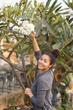 Happy Smiling Asian Girl with Champey Plumeria Flowers Tree Royalty Free Stock Image
