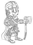 Happy smiling cartoon ancient viking soldier standing with sword and axe Royalty Free Stock Photos