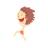 Happy smiling cartoon boy in red shorts running, kids outdoor activity colorful character vector Illustration Stock Photography