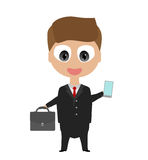 Happy smiling cartoon businessman Stock Photography