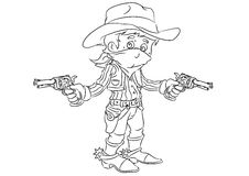 Happy smiling cartoon cowboy bandit standing with guns Stock Images