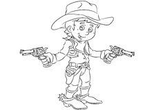 Happy smiling cartoon cowboy standing with guns Stock Photo