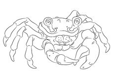 Happy smiling cartoon crab coloring page Stock Photography