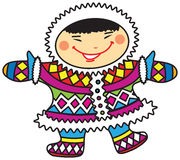 Happy smiling cartoon Eskimo boy in colorful national costumes. Vector illustration of a happy smiling  cartoon Eskimo boy in colorful national costumes Royalty Free Stock Photography