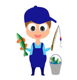 Happy smiling cartoon fisherman. With fish, fishing rod and bucket; made using  graphics Stock Photography