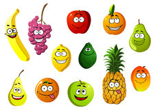 Happy smiling cartoon fruits characters Royalty Free Stock Photos