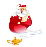 Happy smiling cartoon genie Santa Claus coming out of a magic oi Royalty Free Stock Photo