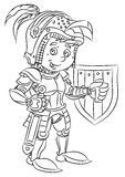 Happy smiling cartoon medieval knight or soldier standing with sword and shield Royalty Free Stock Photo