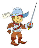 Happy smiling cartoon medieval spanish knight or soldier standing with sword. Beautiful and colorful illustration for the children - for different usage - for Stock Photo