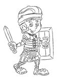 Happy smiling cartoon roman soldier standing with sword and shield Royalty Free Stock Image