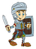 Happy smiling cartoon roman soldier standing with sword and shield Royalty Free Stock Photo