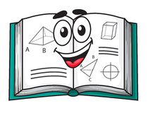 Happy smiling cartoon school textbook. Open to pages showing scientific diagrams, isolated on white Stock Photography
