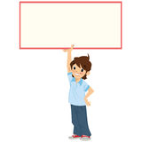 Happy smiling cartoon student boy holding a white blank sign Royalty Free Stock Image