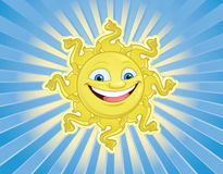 Smiling Sun Face. Happy, smiling, cartoon sun face with rays Stock Image