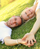 Happy Smiling Caucasian Couple Holding Hand Stock Photography