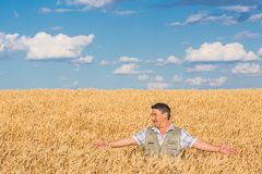 Happy smiling caucasian  old farmer Stock Photo