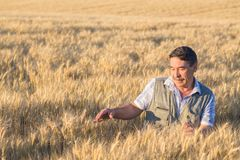 Happy smiling caucasian  old farmer Stock Photography