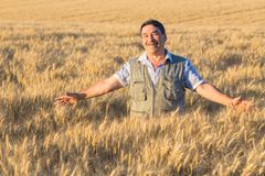 Happy smiling caucasian  old farmer Stock Photos