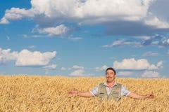 Happy smiling caucasian  old farmer Stock Image