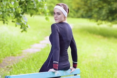 Happy Smiling Caucasian Sportswoman in Fitness Jogging Gear Outd Royalty Free Stock Images