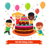Happy smiling celebrating kids with birthday cake Royalty Free Stock Image