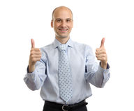 Happy smiling cheerful business man with thumbs up gesture. Isolated over white background royalty free stock photography