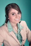 Happy smiling cheerful support phone operator Stock Photo