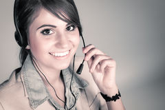 Happy smiling cheerful support phone operator Stock Photography
