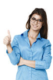 Happy smiling cheerful young business woman with okay gesture, i Royalty Free Stock Photos
