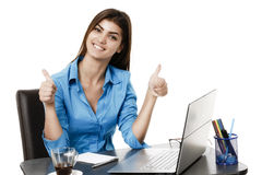 Happy smiling cheerful young business woman with okay gesture, i Royalty Free Stock Photography