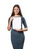 Happy smiling cheerful young businesswoman with clipboard, isolated on white background stock photo