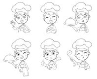 Happy smiling Chef Cook collection. Happy smiling cook. Collection of chef child portraits in different situations.  Monochrome Logo Design template for baby Stock Images