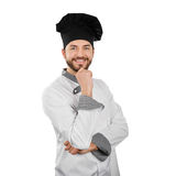 Happy smiling chef with hand on chin isolated on white Stock Photography