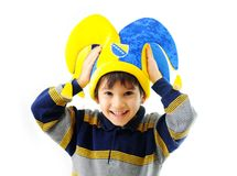 Happy smiling child in a big hat Royalty Free Stock Images