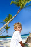 Happy smiling child boy enjoying summer Stock Photo