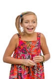 Happy smiling child gesticulating Stock Photo