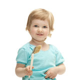 Happy smiling child holding big paintbrush Stock Images